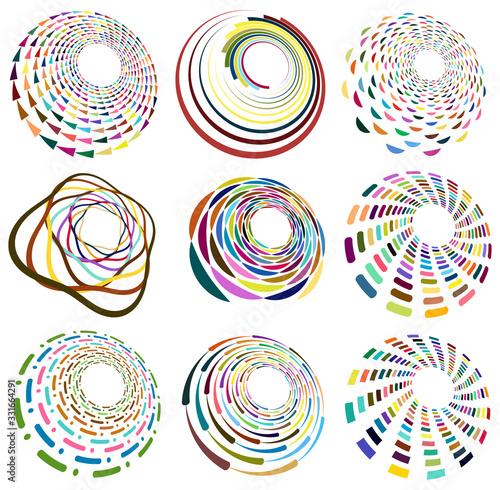 Fotografie, Tablou Set of mottled, multi color and colorful spiral, swirl, twirl shapes