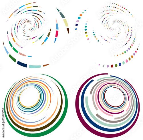 Set of mottled, multi color and colorful spiral, swirl, twirl shapes Fototapet