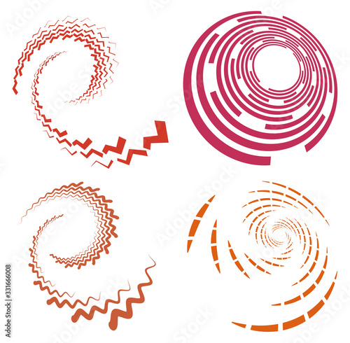 Set of single-colored,monochrome twirl, swirl Fototapet