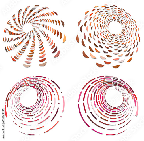 Fotografie, Tablou set of colorful, multicolor and monochrome cyclic, cycle concentric rings