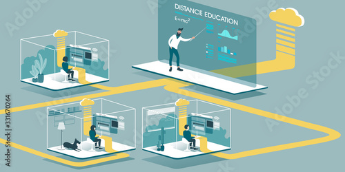 Technical Illustration explaining how cloud computing enhancing our ability to learn and work anywhere Canvas Print