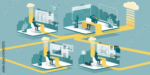 Technical vector Illustration explaining how cloud computing enhancing our ability to learn and work anywhere Wallpaper Mural