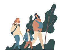 Modern Family Walking In Park. Flat Vector Illustration