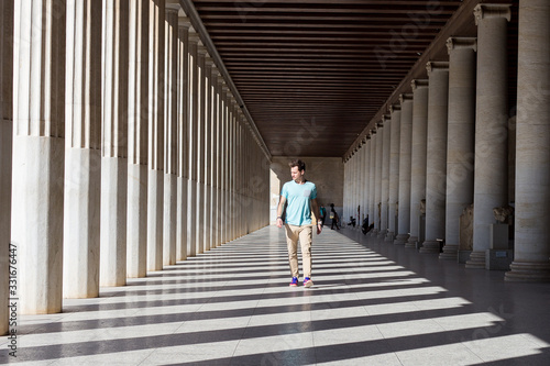Beautiful old Colonnade of the Ancient Agora of Athens in Greece Canvas Print