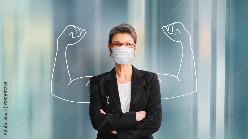 Fototapeta woman in medical face protection mask indoors on blue background