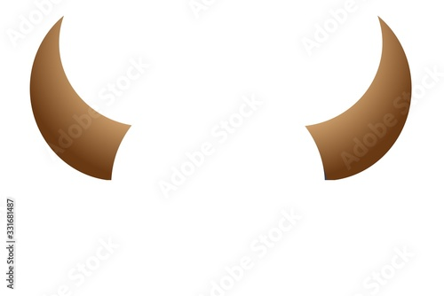 Photo illustration. horns of artiodactyl animals on a white background