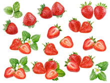 Strawberry Set Watercolor Isol...