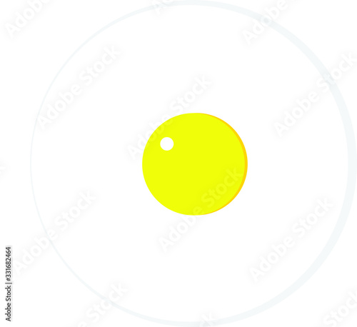 Simple Perfect Circle of fried egg Icon Canvas Print