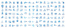 Water Splash Vector And Drop Logo Set - Isolated On White. Vector Collection Of Flat Water Splash And Drop Logo. Icons For Droplet, Water Wave, Rain, Raindrop, Company Logo And Bubble Design