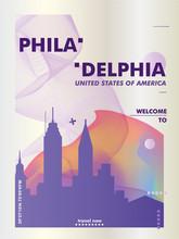 USA United States Of America Philadelphia Skyline City Gradient Vector Poster