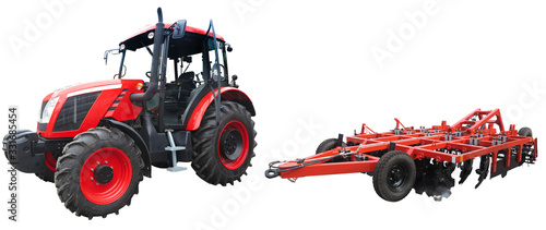 Abstract powerful new tractor with agricultural equipment isolated on white background