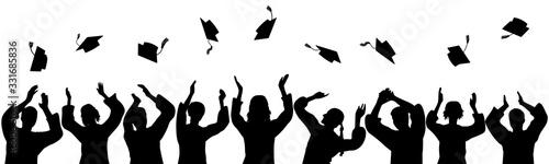 Fotomural Silhouettes of graduates throwing square academic caps