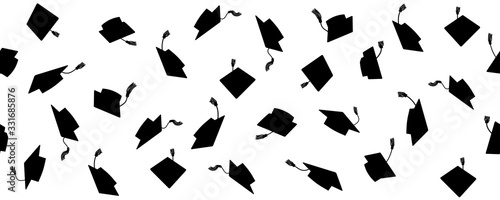 Photo Seamless pattern of throwing square academic caps with tassel, vector illustration