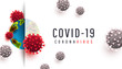 Covid 19 realistic concept with cell diseases or covid-19 bacteria on a white background with place for text.