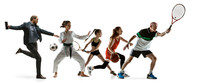 Young Sportsmen Running And Jumping On White Studio Background. Concept Of Sport, Movement, Energy, Dynamic, Healthy Lifestyle. Training, Practicing In Motion. Flyer. Tennis, Basketball, Martial Arts.