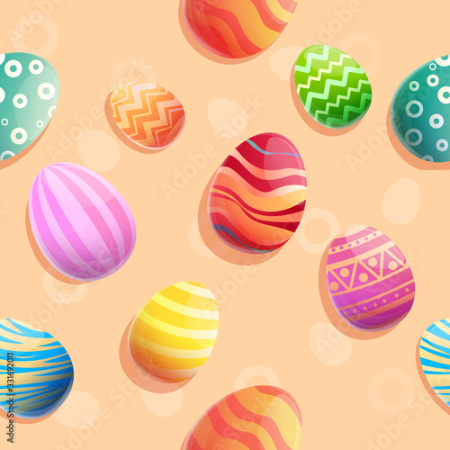 seamless background of cartoon beautiful easter eggs, vector illustration