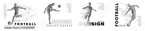 Fotografie, Obraz A set of football, soccer players drawing by lines with text
