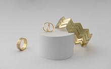 Zigzag Shape Modern Bracelet And Rings On White Background