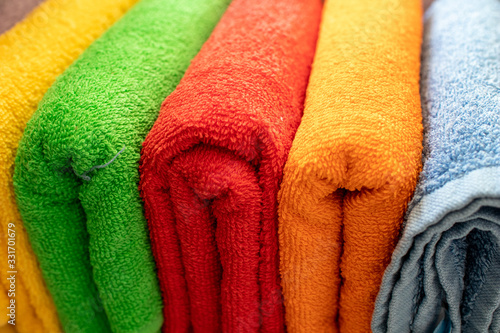 background with colorful towels Canvas Print