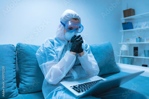 Self-isolation and working from home, prevention, hysteria, fear of viruses and diseases Wallpaper Mural