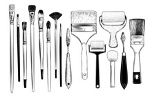 .A Collection Of Sketches Of Art Brushes, Palette  Knifes And Foam Rubber Rollers. A Variety Of Tools In Vintage Style. Hand-drawn Vector Design Elements. Clipart..