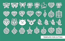 Large Set Of Cute Decorative Ornaments With Leaves, Flowers, Butterflies, Hearts, Animals. Template For Laser Cutting, Metal Engraving, Wood Carving, Plywood, Cardboard, Paper Cut. Vector Illustration