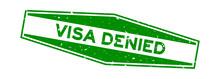 Grunge Green Visa Denied Word Hexagon Rubber Seal Stamp On White Background