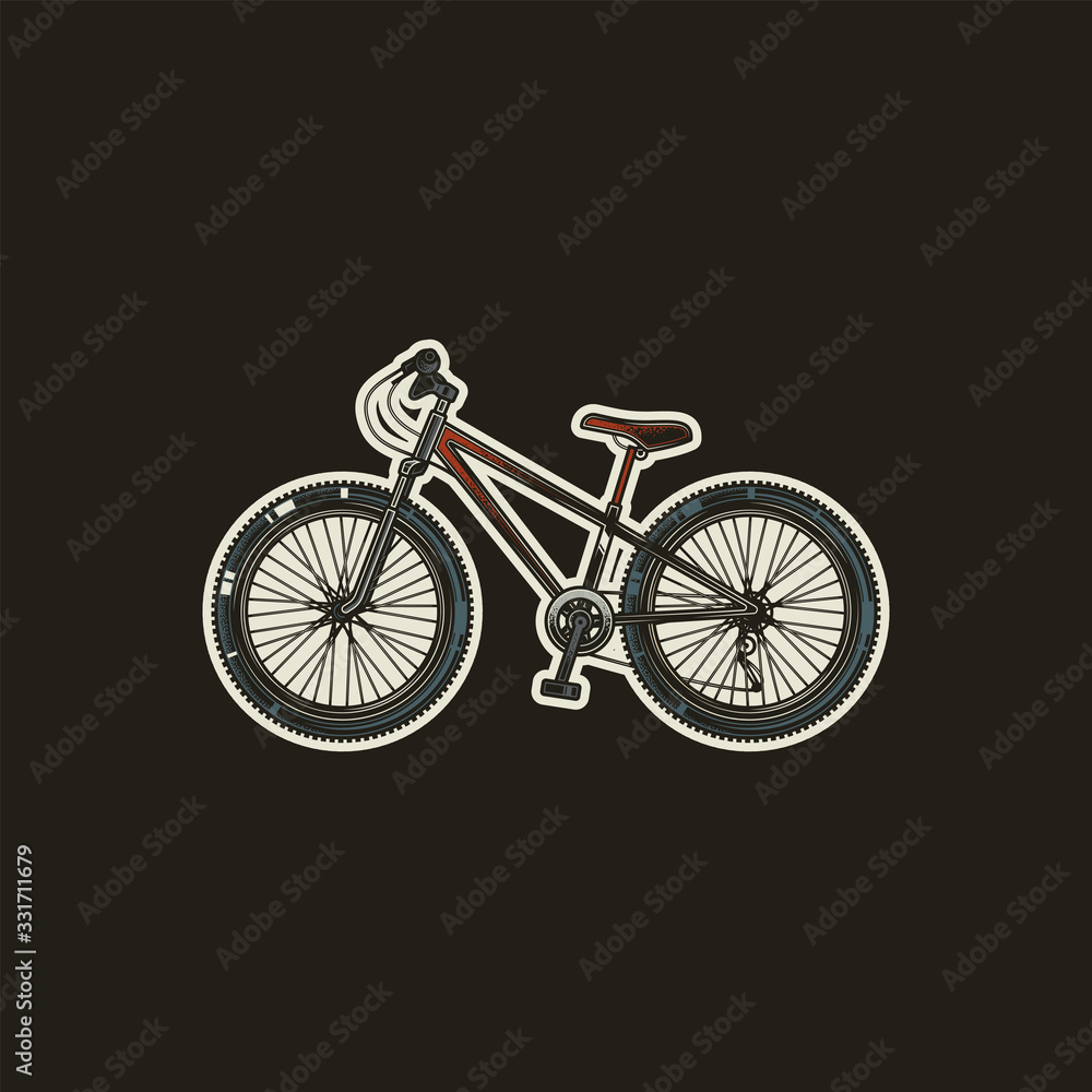 Original vector illustration, icon in retro style. Sports bicycle with large wheels.