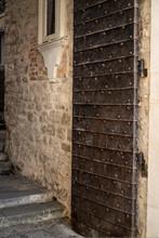 Open Antique Iron Door With Li...