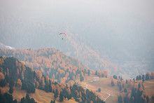 Paraglider Flying Over Mountai...