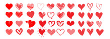 Vector Red Hearts Set Hand Dra...
