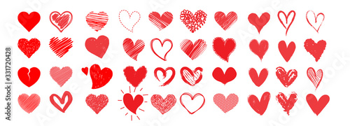 Vector red hearts set hand drawn elements for your design. heart collection icon, love symbol, isolated on white.