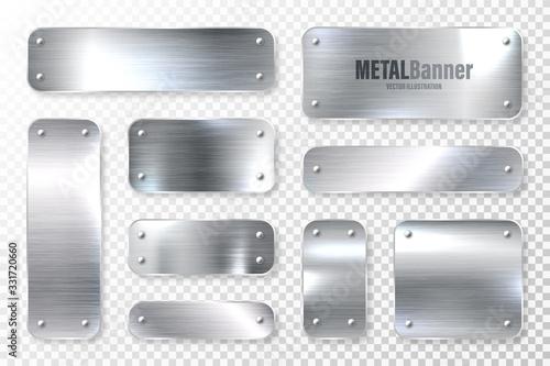 Fototapeta Realistic shiny metal banners set. Brushed steel plate. Polished silver metal surface. Vector illustration. obraz