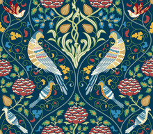 Vintage Flowers And Birds Seam...