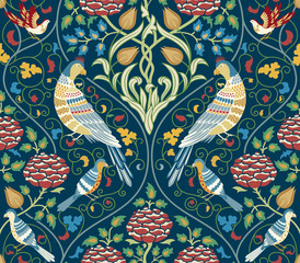 Panel Szklany Romantyczny Vintage flowers and birds seamless pattern on dark blue background. Color vector illustration.