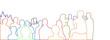 canvas print picture - menschen menge zuschauer silhouetten kontur banner