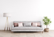 Leinwandbild Motiv Mock up modern interior sofa in living room, empty wall, Scandinavian style, 3D render