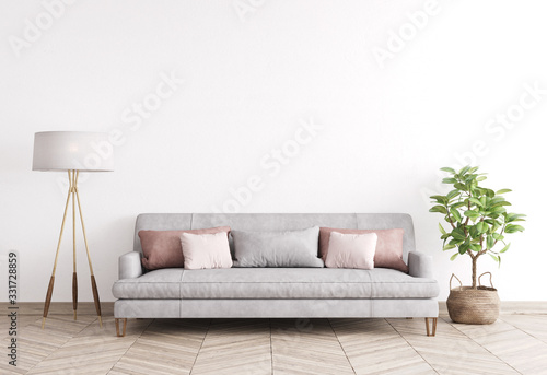 Obraz Mock up modern interior sofa in living room, empty wall, Scandinavian style, 3D render - fototapety do salonu