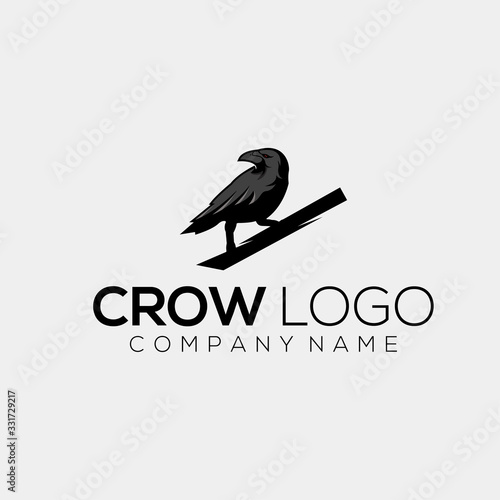 Photo crow logo design vector abstract illustrator