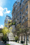 Paris, romantic staircase in Montmartre, typical buildings
