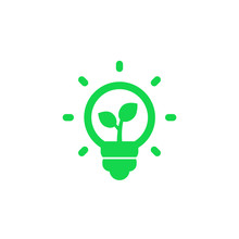 Light Bulb And Plant Vector Icon