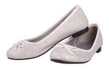 Silver Glitter Flat Shoes (ballet Flats) Isolated On White Background With Clipping Path