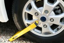 Wheel Clamp Mounted On Vehicle