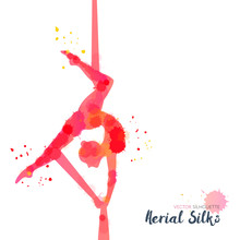 Silhouettes Of A Gymnast In The Aerial Silks. Vector Watercolor Illustration On A White Background. Air Gymnastics Concept