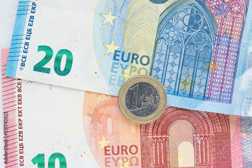 Background with euro banknotes Canvas Print