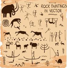 Set Of Rock Paintings In Vector.