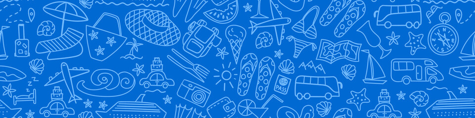 Seamless pattern with summer travel hand drawn icons on blue background. Vacation banner. Vector illustration.