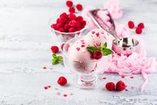 Raspberry Ice Cream In Bowl