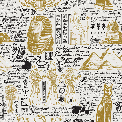 Vector seamless pattern on the Ancient Egypt theme with unreadable notes, hieroglyphs and sketches in retro style Canvas Print
