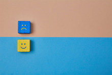 Positive And Negative Thinking, Attitude. Positivity, Negativity. Duality Principle. Smile, Sad Emoji On Wooden Cubes